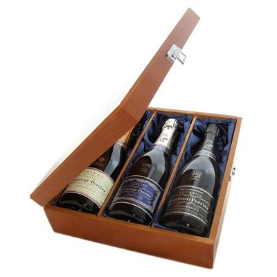 Buy One bottle of Laurent Perrier Brut NV One bottle of Laurent Perrier Vintage 1997 and one bottle of Laurent Perrier Ultra Brut NV Champagne 3 x 75cl Presented in a luxurious stained wooden box with hinged lid and clasp. The box is lined with silver satin and comes with a Gift Card for your personal message. . Price includes free UK Mainland Delivery, and Exports and international delivery available.