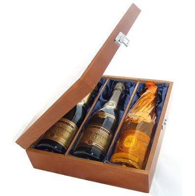 Buy Two bottles of Louis Roederer Brut NV Champagne and Louis Roederer Cristal Vintage 3 x 75cl Presented in a luxurious stained wooden box with hinged lid and clasp. The box is lined with silver satin and comes with a Gift Card for your personal message. . Price includes free UK Mainland Delivery, and Exports and international delivery available.