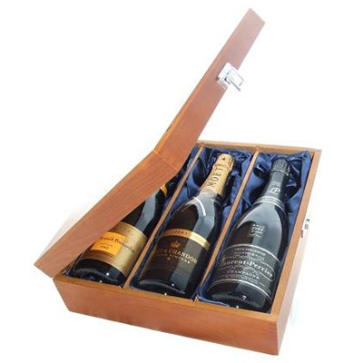 Buy One bottle of Veuve Clicquot Vintage 2004 One bottle of Laurent Perrier Vintage 2006 and one bottle of Moet Vintage 2004 Champagne 3 x 75cl Presented in a luxurious stained wooden box with hinged lid and clasp. The box is lined with silver satin and comes with a Gift Card for your personal message. . Price includes free UK Mainland Delivery, and Exports and international delivery available.