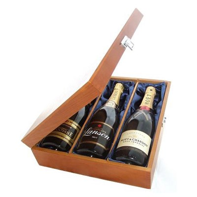 Buy One bottle of Jules Feraud Brut NV One bottle of Lanson Black Label NV and one bottle of Moet Brut Imperial NV Champagne 3 x 75cl Presented in a luxurious stained wooden box with hinged lid and clasp. The box is lined with silver satin and comes with a Gift Card for your personal message. . Price includes free UK Mainland Delivery, and Exports and international delivery available.
