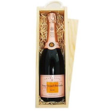 Buy Send a single bottle of Veuve Clicquot Rose NV Champagne 75cl Presented in a wooden gift box with sliding lid and lined with wood wool with a Gift Card for your personal message. . Price includes free UK Mainland Delivery, and Exports and international delivery available.