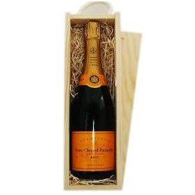 Buy Send a single bottle of Veuve Clicquot Yellow Label Brut NV Champagne 75cl Presented in a wooden gift box with sliding lid and lined with wood wool with a Gift Card for your personal message. . Price includes free UK Mainland Delivery, and Exports and international delivery available.