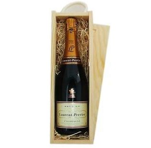 Buy Send a single bottle of Laurent Perrier La Cuvee NV Champagne 75cl Presented in a wooden gift box with sliding lid and lined with wood wool with a Gift Card for your personal message. . Price includes free UK Mainland Delivery, and Exports and international delivery available.