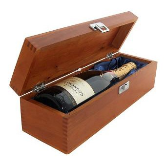 Buy a single bottle of Moet & Chandon Brut Imperial NV Champagne 75cl Presented in a luxurious stained wooden box with hinged lid and clasp. The box is lined with silver satin and comes with a Gift Card for your personal message. . Price includes free UK Mainland Delivery, and Exports and international delivery available.