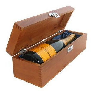 Buy a single bottle of Veuve Clicquot Yellow Label Brut NV Champagne 75cl Presented in a luxurious stained wooden box with hinged lid and clasp. The box is lined with silver satin and comes with a Gift Card for your personal message. . Price includes free UK Mainland Delivery, and Exports and international delivery available.