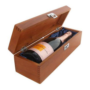 Buy a single bottle of Veuve Clicquot Rose NV Champagne 75cl Presented in a luxurious stained wooden box with hinged lid and clasp. The box is lined with silver satin and comes with a Gift Card for your personal message. . Price includes free UK Mainland Delivery, and Exports and international delivery available.