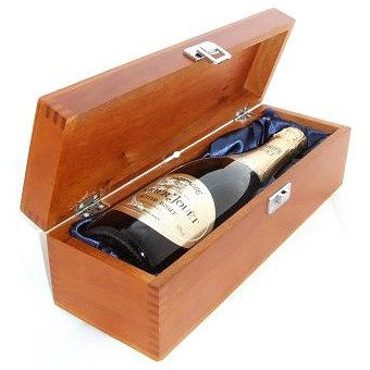 Buy a single bottle of Perrier Jouet Brut NV Champagne 75cl Presented in a luxurious stained wooden box with hinged lid and clasp. The box is lined with silver satin and comes with a Gift Card for your personal message. . Price includes free UK Mainland Delivery, and Exports and international delivery available.