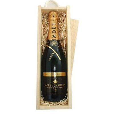 Buy Send a single bottle of Moet & Chandon Brut Vintage 2009 Champagne 75cl Presented in a wooden gift box with sliding lid and lined with wood wool with a Gift Card for your personal message refreshing and lively a must try! . Price includes free UK Mainland Delivery, and Exports and international delivery available.