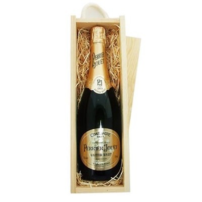 Buy Send a single bottle of Perrier Jouet Brut NV Champagne 75cl Presented in a wooden gift box with sliding lid and lined with wood wool with a Gift Card for your personal message. . Price includes free UK Mainland Delivery, and Exports and international delivery available.