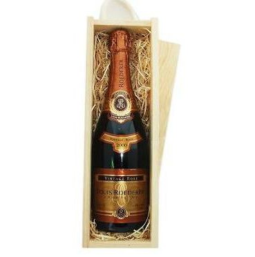 Buy Send a single bottle of Louis Roederer Rose Vintage 2011 Champagne (75cl) Presented in a wooden gift box with sliding lid and lined with wood wool with a Gift Card for your personal message. . Price includes free UK Mainland Delivery, and Exports and international delivery available.