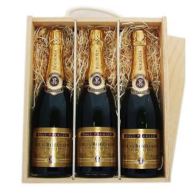 Buy Three x 75cl bottles of Louis Roederer Brut NV Champagne supplied in a wooden timber case lined with wood wool. Available for UK mainland delivery only Export delivery price available on request . Price includes free UK Mainland Delivery, and Exports and international delivery available.