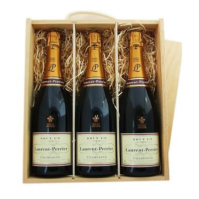 Buy Three x 75cl bottles of Laurent Perrier La Cuvee NV Champagne supplied in a wooden timber case lined with wood wool. Available for UK mainland delivery only Export delivery price available on request . Price includes free UK Mainland Delivery, and Exports and international delivery available.