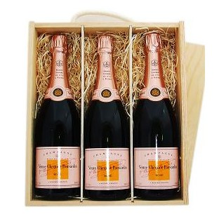 Buy Three x 75cl bottles of Veuve Clicquot Rose NV Champagne supplied in a wooden timber case lined with wood wool. Available for UK mainland delivery only Export delivery price available on request . Price includes free UK Mainland Delivery, and Exports and international delivery available.