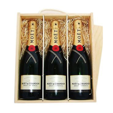 Buy Three x 75cl bottles of Moet & Chandon Brut Imperial NV Champagne supplied in a wooden timber case lined with wood wool. Available for UK mainland delivery only Export delivery price available on request . Price includes free UK Mainland Delivery, and Exports and international delivery available.