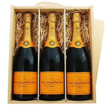 Buy Three x 75cl bottles of Veuve Clicquot Yellow Label NV Champagne supplied in a wooden timber case lined with wood wool. Available for UK mainland delivery only Export delivery price available on request . Price includes free UK Mainland Delivery, and Exports and international delivery available.