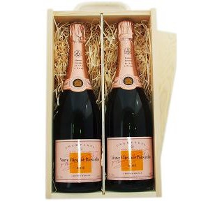Buy Two x 75cl bottles of Veuve Clicquot Rose NV Champagne supplied in a wooden timber case lined with wood wool. Available for UK mainland delivery only Export delivery price available on request . Price includes free UK Mainland Delivery, and Exports and international delivery available.
