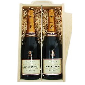 Buy Two x 75cl bottles of Laurent Perrier La Cuvee NV Champagne supplied in a wooden timber case lined with wood wool. Available for UK mainland delivery only Export delivery price available on request . Price includes free UK Mainland Delivery, and Exports and international delivery available.