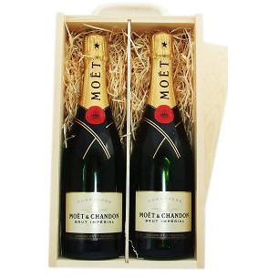 Buy Two x 75cl bottles of Moet & Chandon Brut Imperial NV Champagne supplied in a wooden timber case lined with wood wool. Available for UK mainland delivery only Export delivery price available on request . Price includes free UK Mainland Delivery, and Exports and international delivery available.