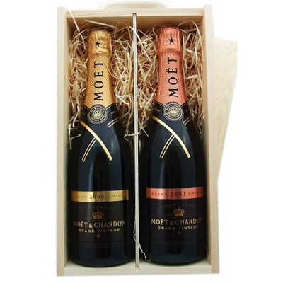 Buy One x 75cl bottle of Moet Chandon Brut Vintage 2009 and one bottle of Moet Chandon Rose Vintage 2006 Champagne supplied in a wooden timber case lined with wood wool. Available for UK mainland delivery only.Export delivery price available on request . Price includes free UK Mainland Delivery, and Exports and international delivery available.