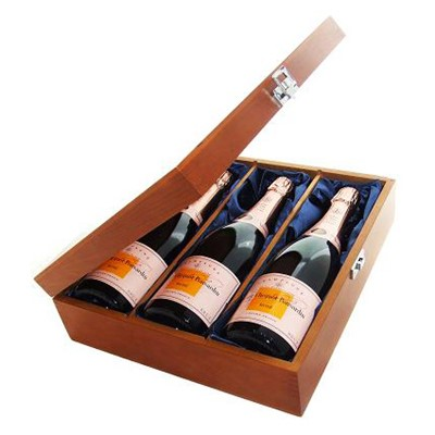 Buy Three bottles of Veuve Clicquot Rose NV Champagne 3 x 75cl Presented in a luxurious stained wooden box with hinged lid and clasp. The box is lined with silver satin and comes with a Gift Card for your personal message. . Price includes free UK Mainland Delivery, and Exports and international delivery available.