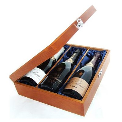 Buy One bottle of Pol Roger Brut NV One bottle of Pol Roger Vintage 1999 and one bottle of Pol Roger Rose Vintage 2000 Champagne 3 x 75cl Presented in a luxurious stained wooden box with hinged lid and clasp. The box is lined with silver satin and comes with a Gift Card for your personal message. . Price includes free UK Mainland Delivery, and Exports and international delivery available.