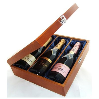 Buy One bottle of Moet & Chandon Brut Imperial NV One bottle of Moet & Chandon Vintage 2002 and one bottle of Moet & Chandon Rose NV Champagne 3 x 75cl Presented in a luxurious stained wooden box with hinged lid and clasp. The box is lined with silver satin and comes with a Gift Card for your personal message. . Price includes free UK Mainland Delivery, and Exports and international delivery available.