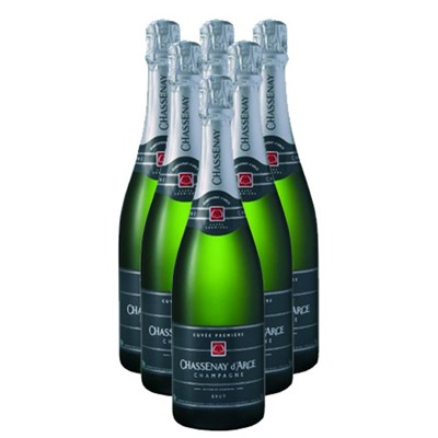 Case of Twelve Chassenay d'Arce Cuvee Premiere Brut 75cl Bottles Bulk Packed in a single case. Price includes free UK Mainland Delivery, and Exports and international delivery available.
