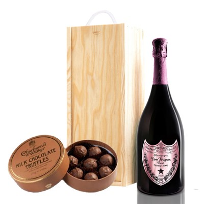 A single bottle of Dom Perignon Rose 75cl, Champagne & Charbonnel  Milk Chocolate Truffles (110g), Presented in a wooden gift box with sliding lid and lined with wood wool with a Gift Card for your personal message. . Price includes free UK Mainland Delivery, and Exports and international delivery available.