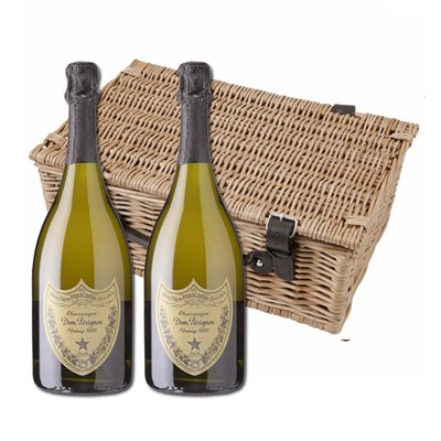 Buy a lovely wicker hamper with leather straps padded out with shred fill, with two bottles of Dom Perignon Brut 75cl in. It comes with a gift card with your personal gift message in.  . Price includes free UK Mainland Delivery, and Exports and international delivery available.