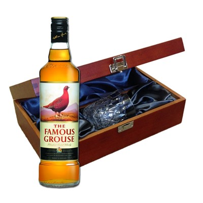 Famous Grouse Whisky In Luxury Box With Royal Scot Glass Send a bottle of Famous Grouse Blended Scotch Whisky in a lovely box beautifully stained featuring traditional joins with hinged lid and clasp fastening. Along with a beautiful hand cut lead crystal Royal Scot Whisky glass. All gifts come with a gift card with message of your choice.    . Price includes free UK Mainland Delivery, and Exports and international delivery available.