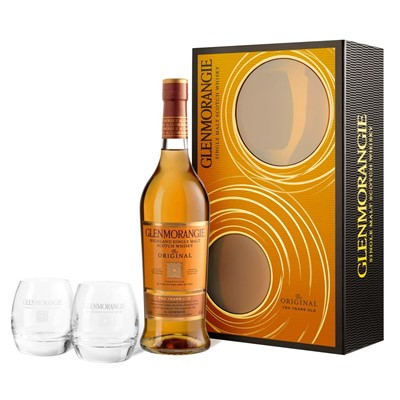Buy Glenmorangie whisky Gift pack. This contains one bottle of Glenmorangie whisky 70cl and two branded crystal tumblers. Price includes free UK Mainland Delivery, and Exports and international delivery available.