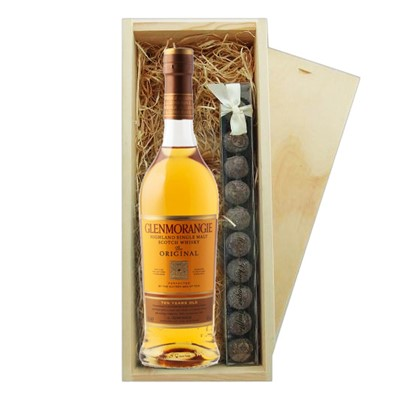 Glenmorangie Original Whisky And Truffles Wooden Box   A single bottle of Glenmorangie 10 Year Old Original Single Malt Whisky And a single strip of fine Hand Made Truffles 100g Presented in a wooden gift box with sliding lid and lined with wood wool with a Gift Card for your personal message.  . Price includes free UK Mainland Delivery, and Exports and international delivery available.