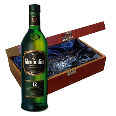 Glenfiddich 12 Year Old In Luxury Box With Royal Scot Glass Send a bottle of Glenfiddich 12 Year Old Speyside Single Malt Scotch Whisky in a lovely box beautifully stained featuring traditional joins with hinged lid and clasp fastening. Along with a beautiful hand cut lead crystal Royal Scot Whisky glass. All gifts come with a gift card with message of your choice.    . Price includes free UK Mainland Delivery, and Exports and international delivery available.