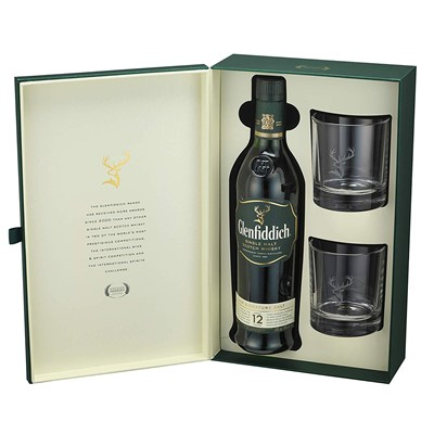 Glenfiddich 12 Year Old Whisky Two Glass Gift Pack 70cl