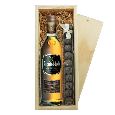 Glenfiddich 15 Year Old Solera Truffles & Wooden Box   A single bottle of Glenfiddich 15 Year Old Solera Speyside Single Malt Scotch Whisky & a single strip of fine Hand Made Truffles 100g Presented in a wooden gift box with sliding lid and lined with wood wool with a Gift Card for your personal message.  . Price includes free UK Mainland Delivery, and Exports and international delivery available.