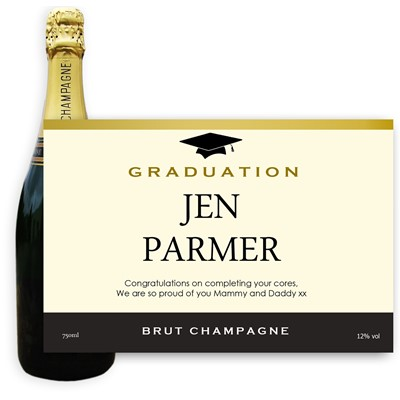 Personalised Champagne - Graduation Label - A bottle of Champagne, Jules Feraud, Brut Cuvee personalised as a gift that is a perfect for celebrating with style! Create your very own Personalised Bottle of Champagne with your own message on the bottle, which is printed in full colour. Jules Feraud is a rich Champagne with savoury aromas. This deep, golden Champagne is powerful but elegant; strong bodied and dry yet still balanced. A fresh, fun and lively champagne for any occasion...and deliciously easy to drink! (Please Keep the Message to Maximum of 25 words, Gift Message will be used as message on the label)