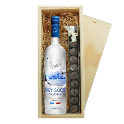 Grey Goose Vodka & Truffles Wooden Box   A single bottle of Grey Goose Vodka 70cl & a single strip of fine Hand Made Truffles 100g Presented in a wooden gift box with sliding lid and lined with wood wool with a Gift Card for your personal message.  . Price includes free UK Mainland Delivery, and Exports and international delivery available.