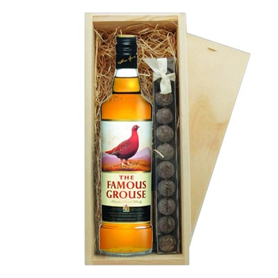 Famous Grouse Whisky & Truffles Wooden Box   A single bottle of Famous Grouse Blended Scotch Whisky & a single strip of fine Hand Made Truffles 100g Presented in a wooden gift box with sliding lid and lined with wood wool with a Gift Card for your personal message.  . Price includes free UK Mainland Delivery, and Exports and international delivery available.
