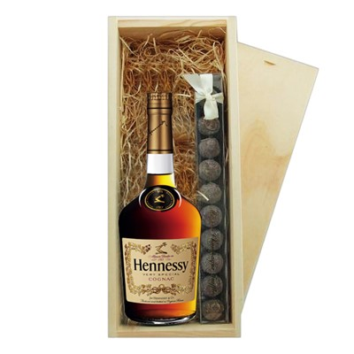 Hennessy VS 3star Cognac & Truffles Wooden Box   A single bottle of Hennessy VS 3star Cognac  & a single strip of fine Hand Made Truffles 100g Presented in a wooden gift box with sliding lid and lined with wood wool with a Gift Card for your personal message.  . Price includes free UK Mainland Delivery, and Exports and international delivery available.