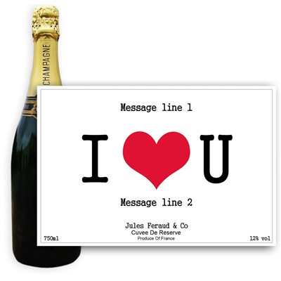 Personalised Champagne - I Love You Label - A bottle of Champagne, Jules Feraud, Brut Cuvee personalised as a gift that is a perfect for celebrating with style! Create your very own Personalised Bottle of Champagne with your own message on the bottle, which is printed in full colour. Jules Feraud is a rich Champagne with savoury aromas. This deep, golden Champagne is powerful but elegant; strong bodied and dry yet still balanced. A fresh, fun and lively champagne for any occasion...and deliciously easy to drink! (Please Keep the Message to Maximum of 25 words, Gift Message will be used as message on the label)
