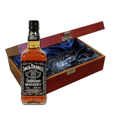 Jack Daniels In Luxury Box With Royal Scot Glass Send a bottle of Jack Daniels Tennessee Whisky 70cl in a lovely box beautifully stained featuring traditional joins with hinged lid and clasp fastening. Along with a beautiful hand cut lead crystal Royal Scot Whisky glass. All gifts come with a gift card with message of your choice.    . Price includes free UK Mainland Delivery, and Exports and international delivery available.