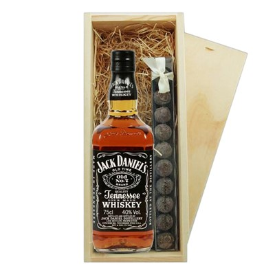 Jack Daniels Tennessee Whisky & Truffles Wooden Box   A single bottle of Jack Daniels Tennessee Whisky & a single strip of fine Hand Made Truffles 100g Presented in a wooden gift box with sliding lid and lined with wood wool with a Gift Card for your personal message.  . Price includes free UK Mainland Delivery, and Exports and international delivery available.