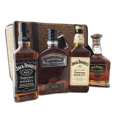 An array of JD (Jack Daniels) including Tennessee No. 7, Gentleman Jack, Tennessee Honey and also Single Barrel! All presented in 1 beautiful basket that can be kept and used again and again.