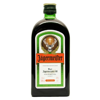 Jagermeister  Liqueur  Jagermeister meaning hunt master is a German bitter liqueur. Dating from the seventh century it is made of a complex blend of 56 herbs fruits and spices and should be served icy cold. The label features a stags head with a cross because according to legend the drinks founder Hubertas upon losing his wife would go off into the woods alone to hunt and saw a magnificent stag with a floating cross between its antlers.  . Price includes free UK Mainland Delivery, and Exports and international delivery available.