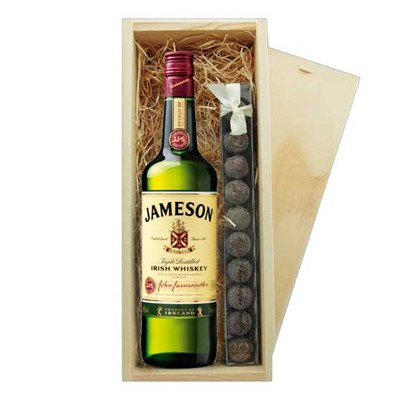 Jameson Irish Whisky & Truffles Wooden Box   A single bottle of Jameson Blended Irish Whisky & a single strip of fine Hand Made Truffles 100g Presented in a wooden gift box with sliding lid and lined with wood wool with a Gift Card for your personal message.  . Price includes free UK Mainland Delivery, and Exports and international delivery available.