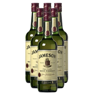 Jamesons Irish Whisky 6x75cl Case of Six of Jameson's is the Number One International Irish Whiskey Bulk Packed in a single case . Price includes free UK Mainland Delivery, and Exports and international delivery available.