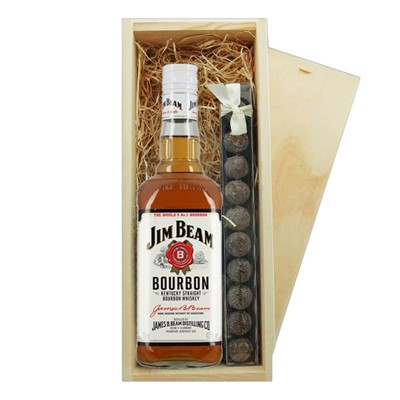 Jim Beam White & Truffles Wooden Box A single bottle of Jim Beam White 70cl & a single strip of fine Hand Made Truffles 100g Presented in a wooden gift box with sliding lid and lined with wood wool with a Gift Card for your personal message.  . Price includes free UK Mainland Delivery, and Exports and international delivery available.