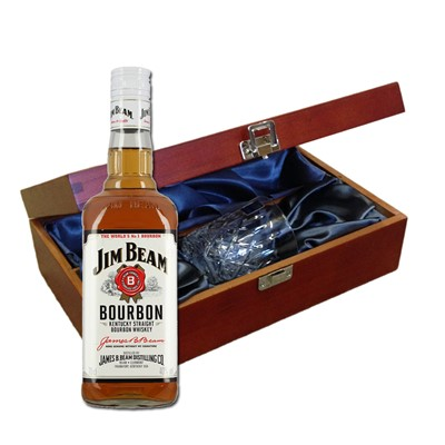 Jim Beam White Label In Luxury Box With Royal Scot Glass Send a bottle of Jim Beam White Label Bourbon Whisky in a lovely box beautifully stained featuring traditional joins with hinged lid and clasp fastening. Along with a beautiful hand cut lead crystal Royal Scot Whisky glass. All gifts come with a gift card with message of your choice.  . Price includes free UK Mainland Delivery, and Exports and international delivery available.