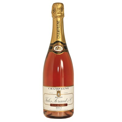 Buy Send a single bottle of Jules Feraud Rose, Beautiful deep pink Champagne with a rich, intensely fruity nose which follows through on the palate with red fruits prevailing on the finish. Price includes free UK Mainland Delivery, and Exports and international delivery available.