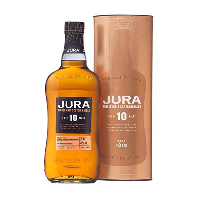 Buy a bottle of Isle of Jura 10 year old Single Malt. The Isle of Jura is one of Scotland's most beautiful but least known islands. Distilled on the beachfront in the village of Craighouse its single malt whisky remains the pride of Jura's people. Price includes free UK Mainland Delivery, and Exports and international delivery available.